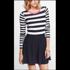 Express Stripe Blocked Sweater Skater Dress L